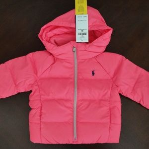 NWT Ralph Lauren Pink Down Puffer Coat 6m NEW $155